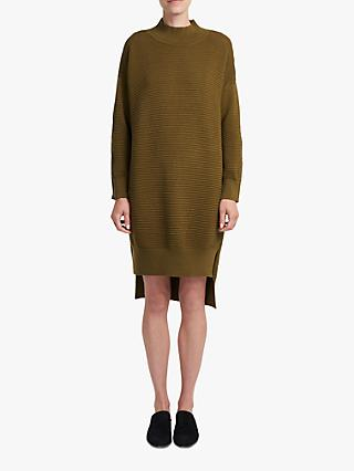 French Connection Zip Sleeve Jumper Dress, Dark Olive