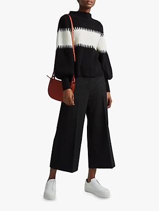 French Connection Colour Block High Neck Jumper, Black