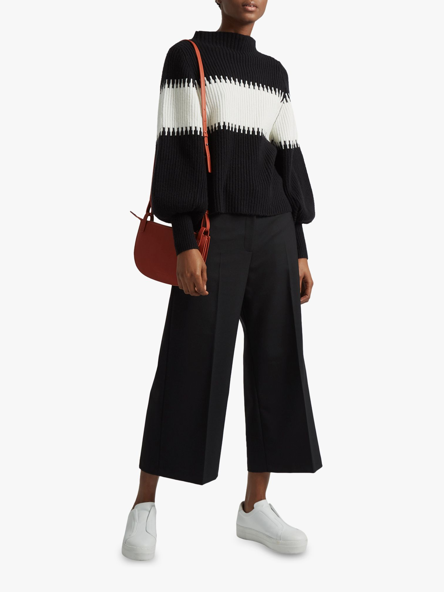 French Connection French Connection Colour Block High Neck Jumper, Black