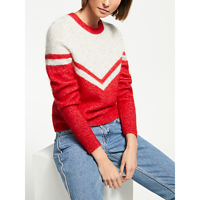 Just Female Swiss Knitted Jumper, Red/Ivory