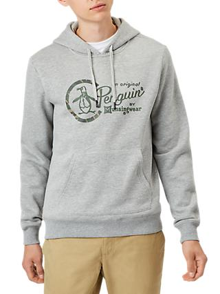 Original Penguin Logo Hooded Sweatshirt, Grey