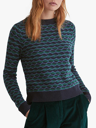 Buy Toast Geometric Jacquard Jumper, Navy/Green, L Online at johnlewis.com