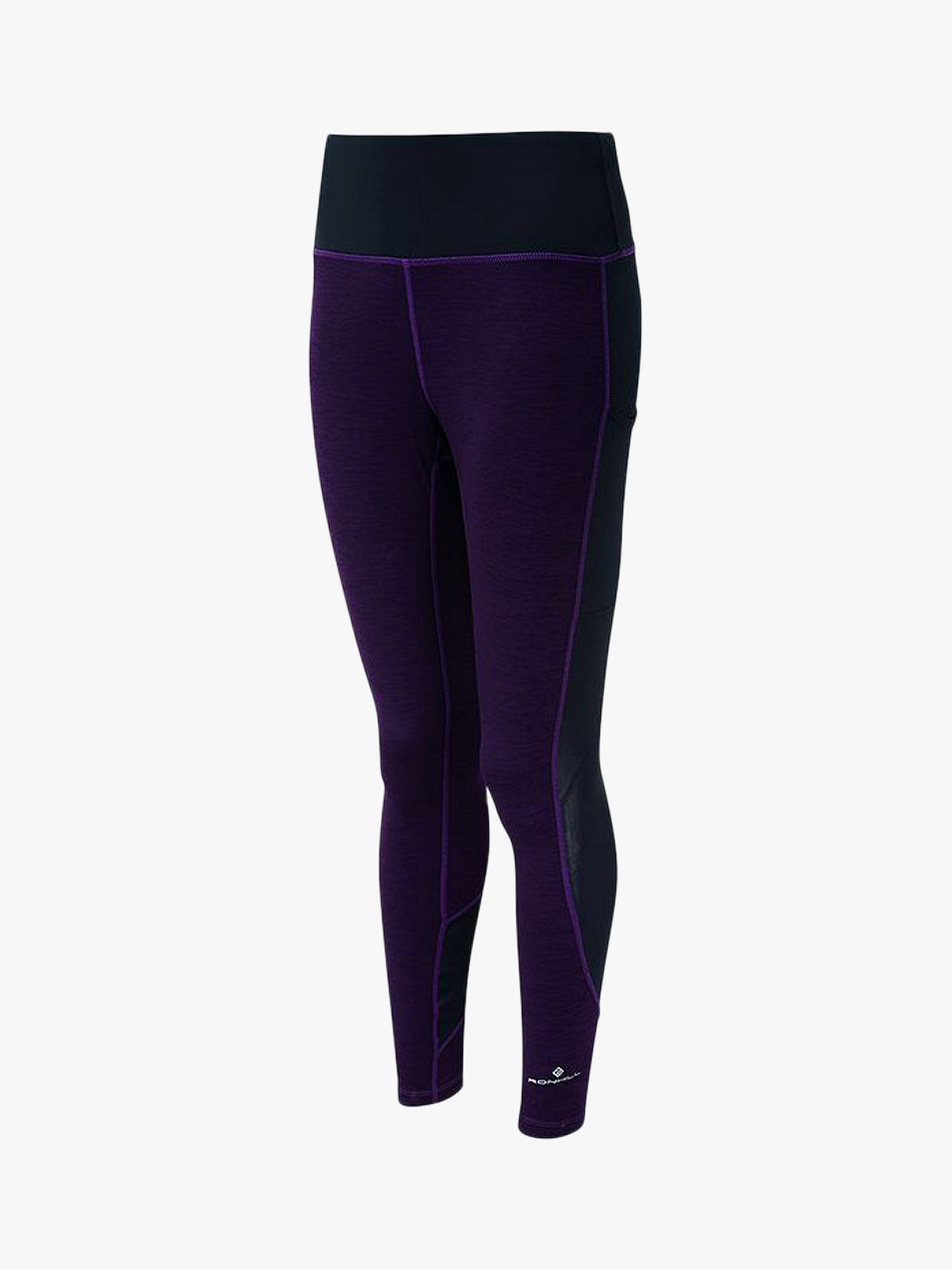 BuyRonhill Momentum Agile Running Leggings, Aubergine Marl/Black, 16 Online at johnlewis.com