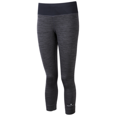 Ronhill Momentum Cropped Running Tights, Charcoal Marl