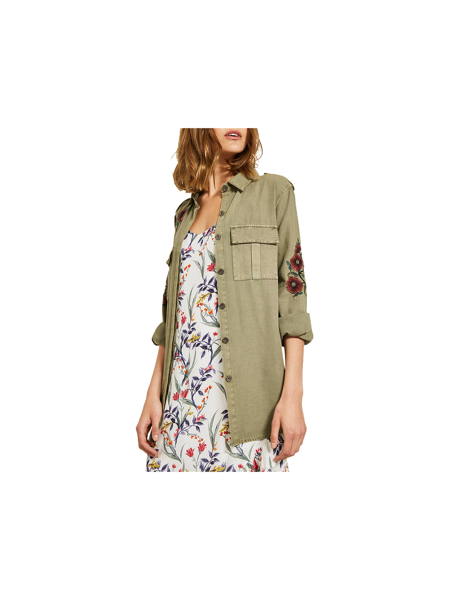 attractive price new list super cute Mint Velvet Floral Embroidered Shacket, Dark Green at John ...