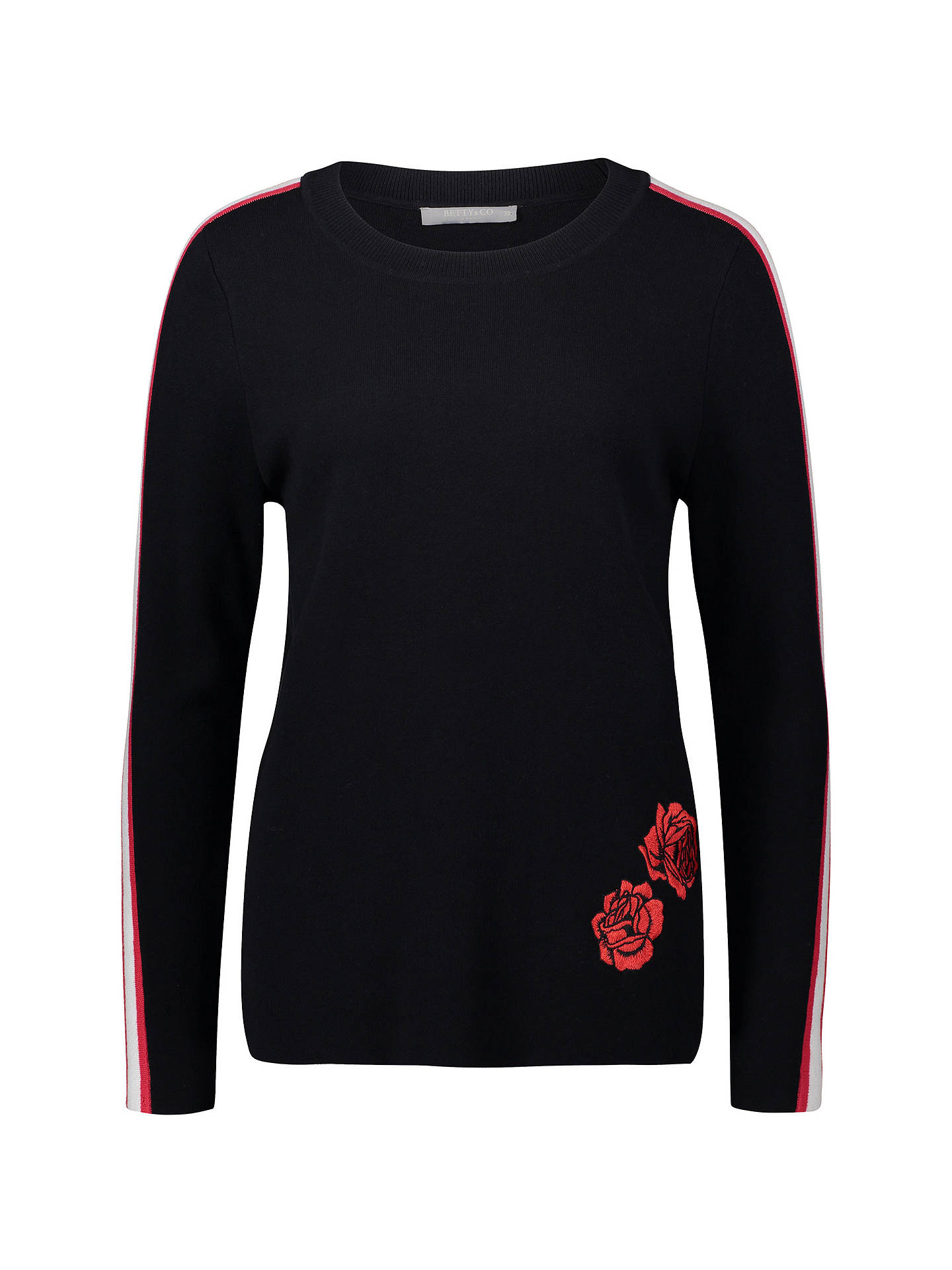 BuyBetty Barclay Embroidered Jumper, Black/Red, 10 Online at johnlewis.com