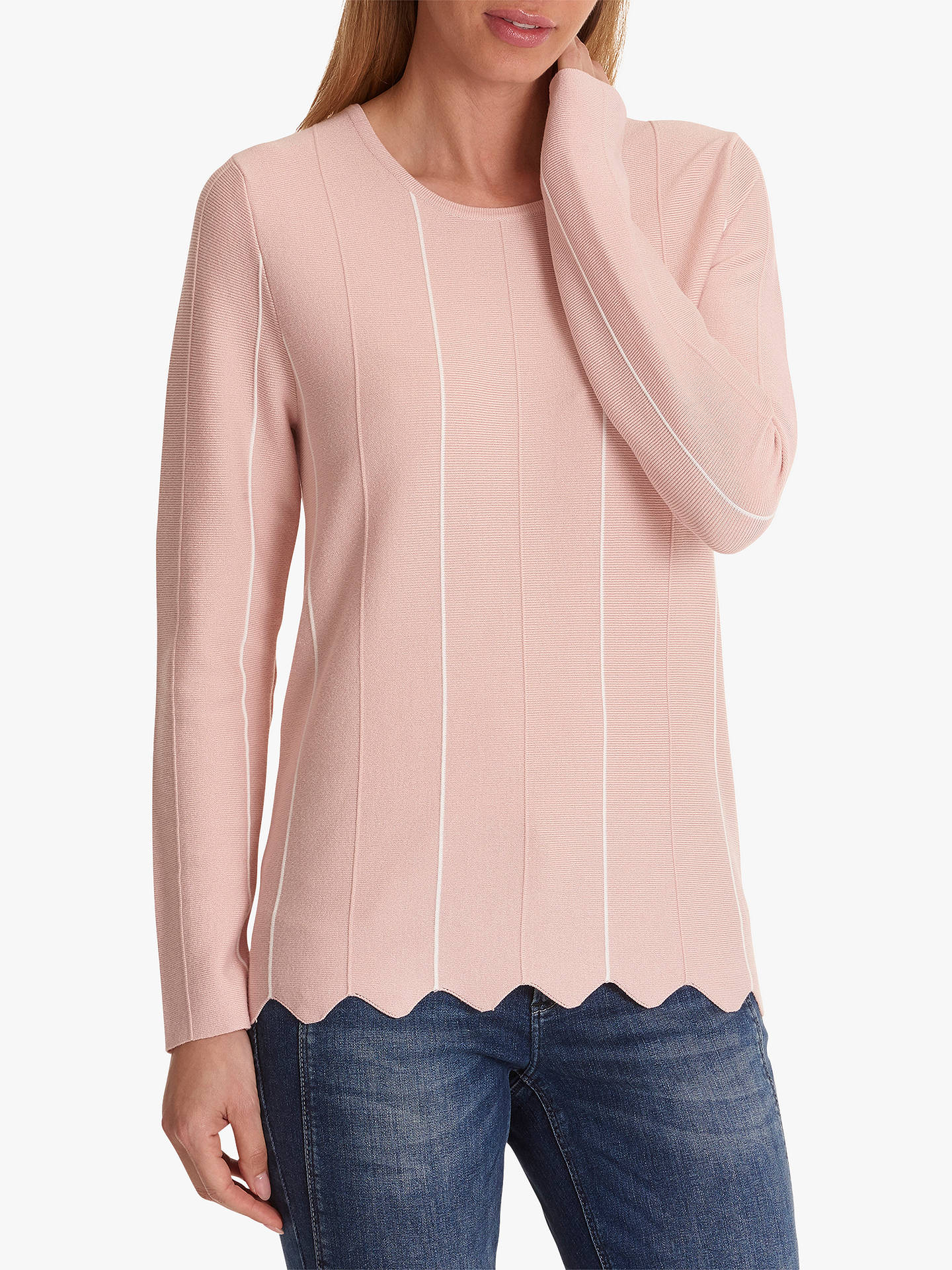 BuyBetty Barclay Scalloped Stripe Jumper, Rose White, 12 Online at  johnlewis.com ... 197879009e