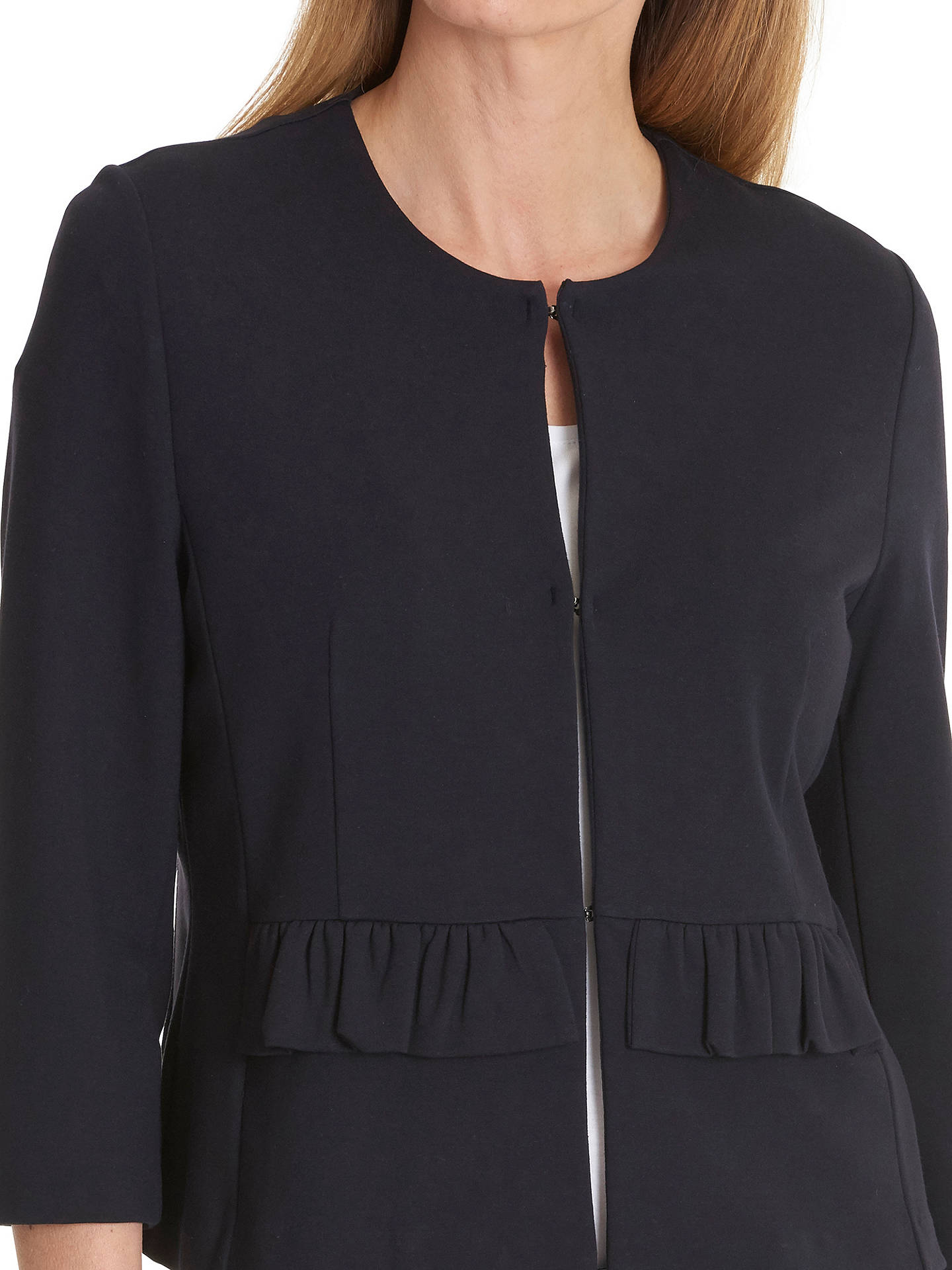 Buy Betty Barclay Frilled Jersey Jacket, Dark Sapphire, 10 Online at johnlewis.com