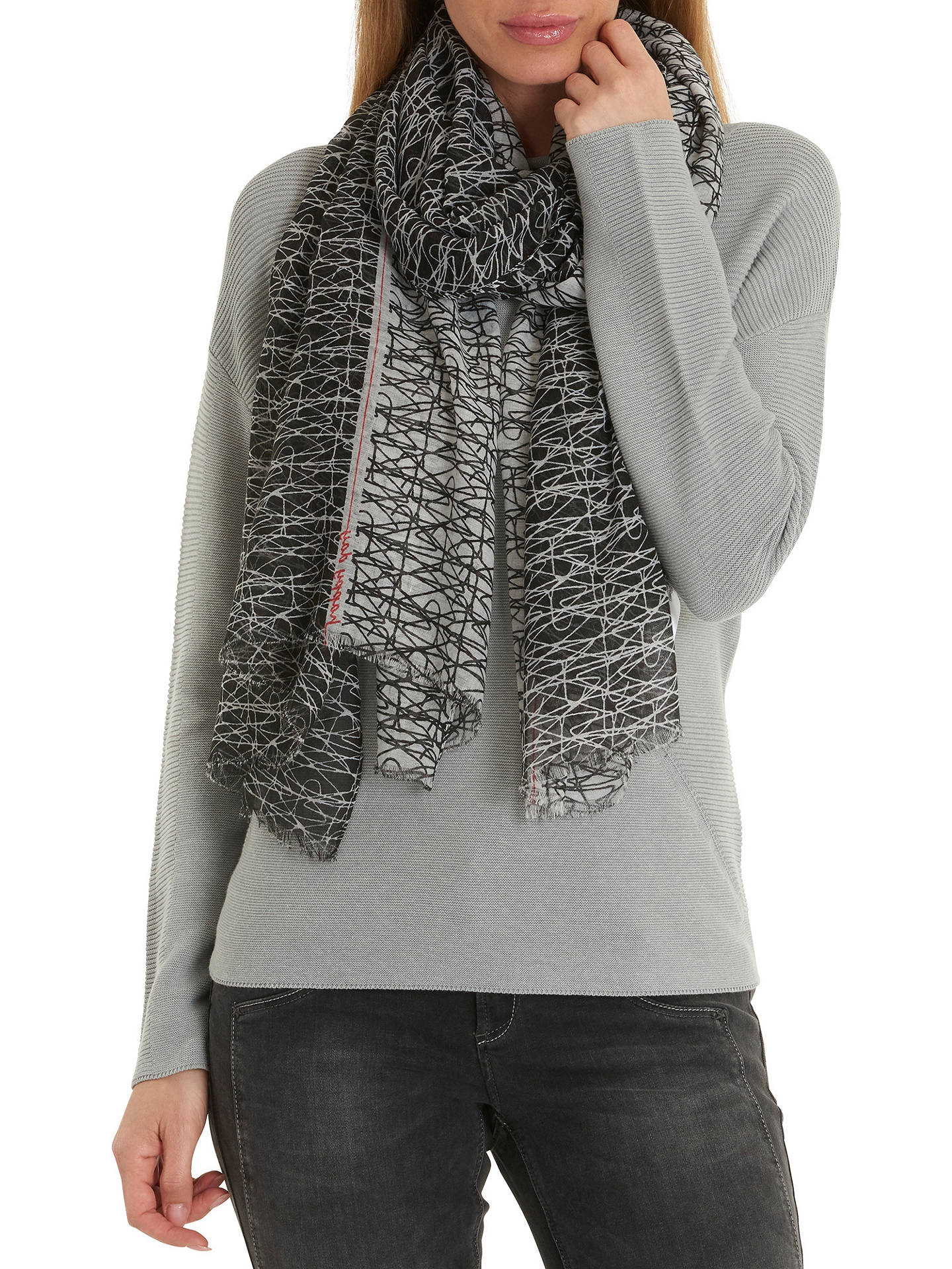 BuyBetty Barclay Scribble Print Scarf, Black/White Online at johnlewis.com