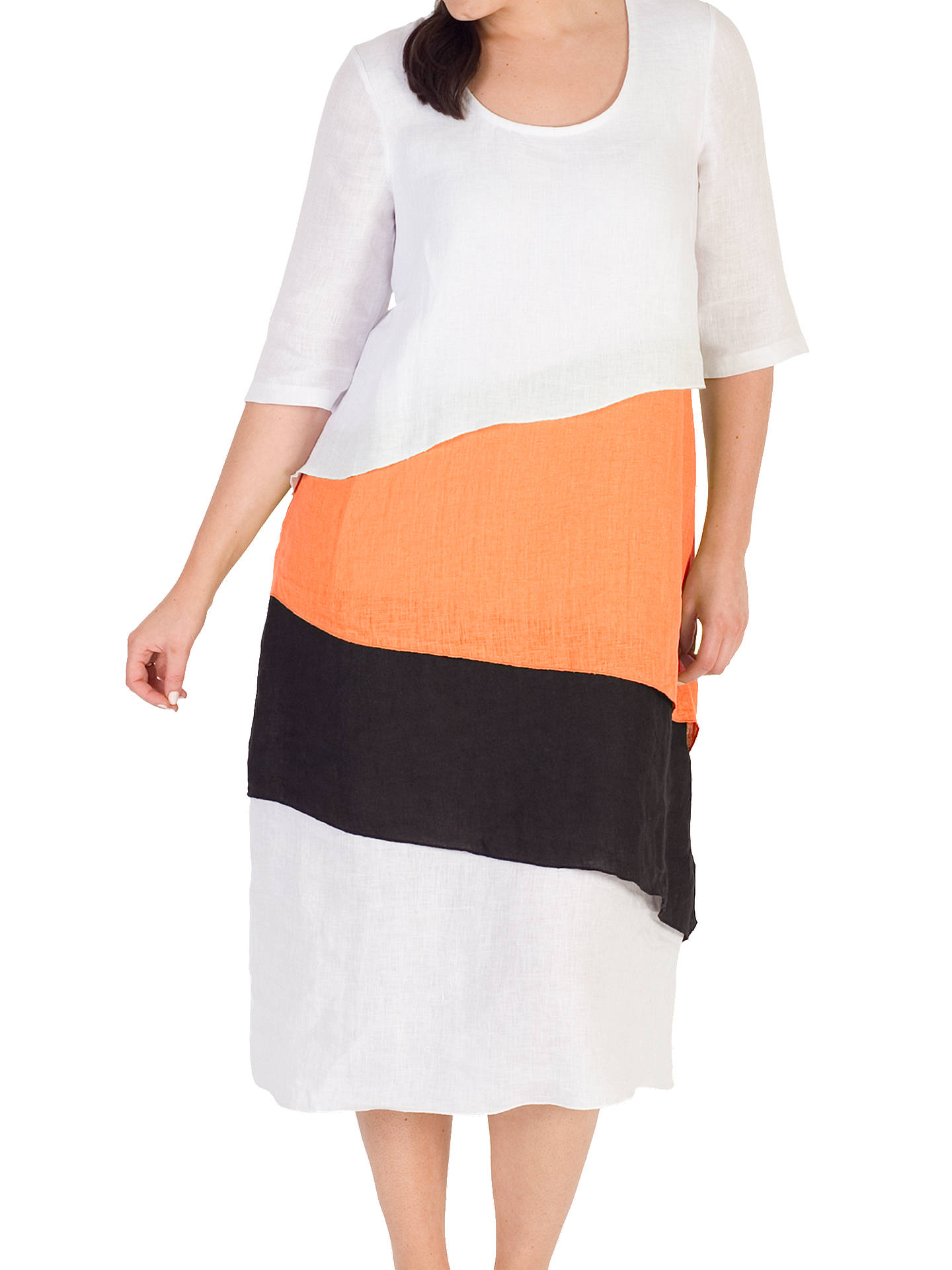 Buy Chesca Colour Block Layered Dress, White/Orange, 12-14 Online at johnlewis.com