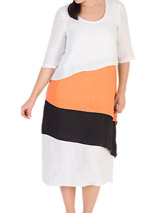 Chesca Colour Block Layered Dress, White/Orange