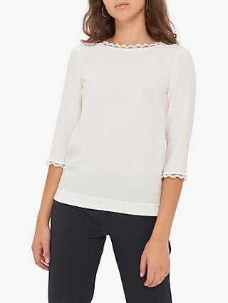 Gerard Darel Lucas Lace Scallop Trim Blouse, Ecru