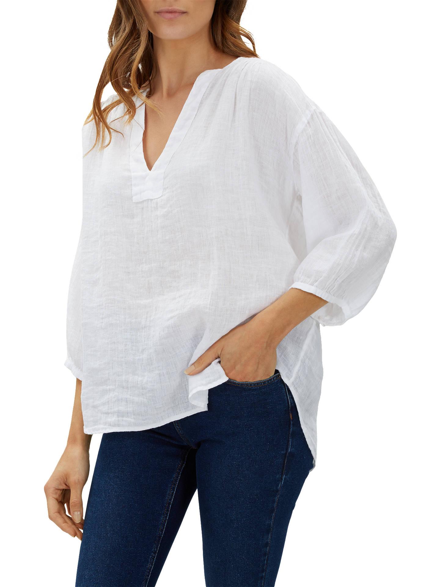 d5335a67 Buy Jaeger Gauze Linen Tunic Top, White, 10 Online at johnlewis.com ...