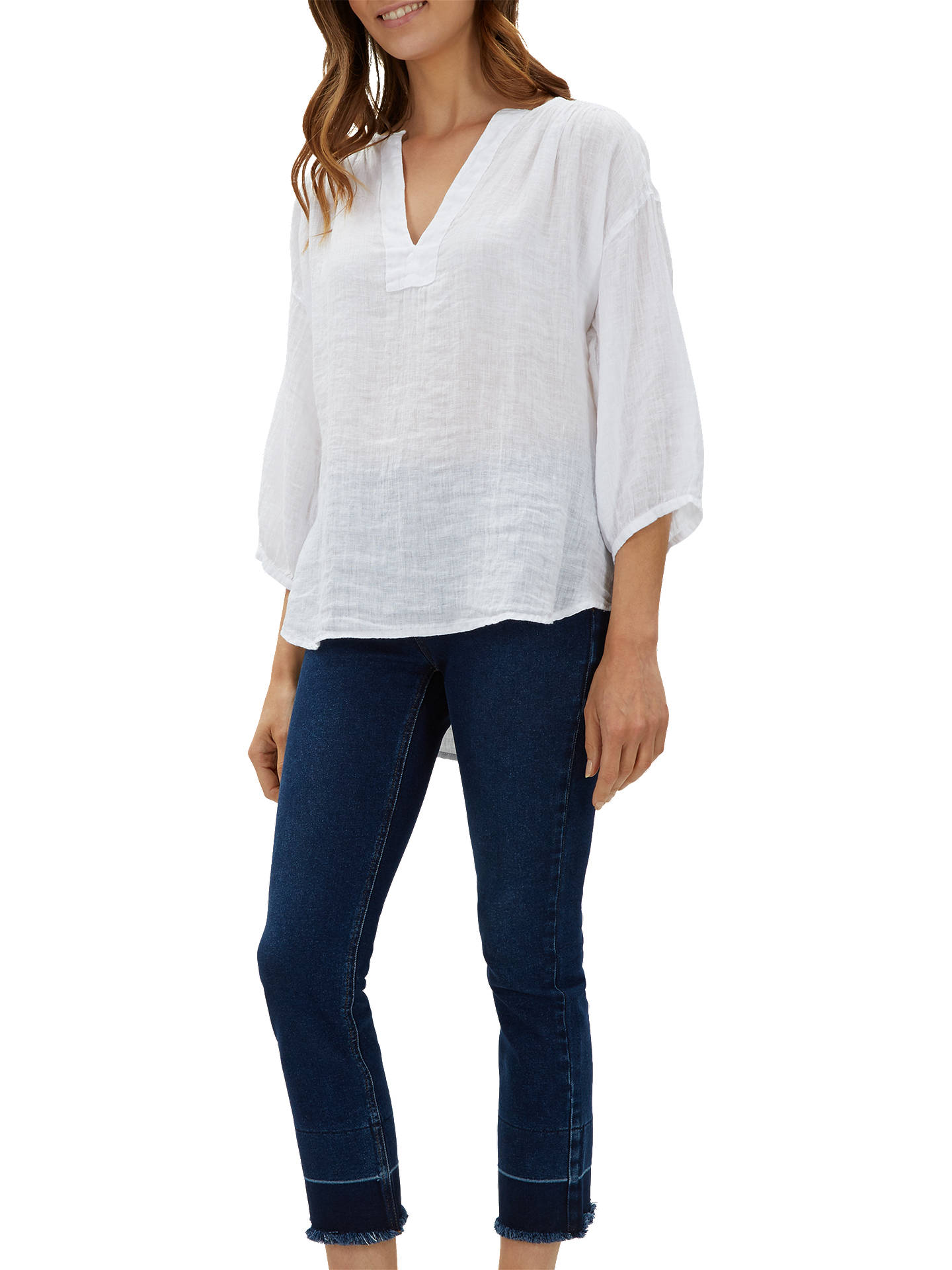 681ae284f9e ... Buy Jaeger Gauze Linen Tunic Top, White, 10 Online at johnlewis.com ...