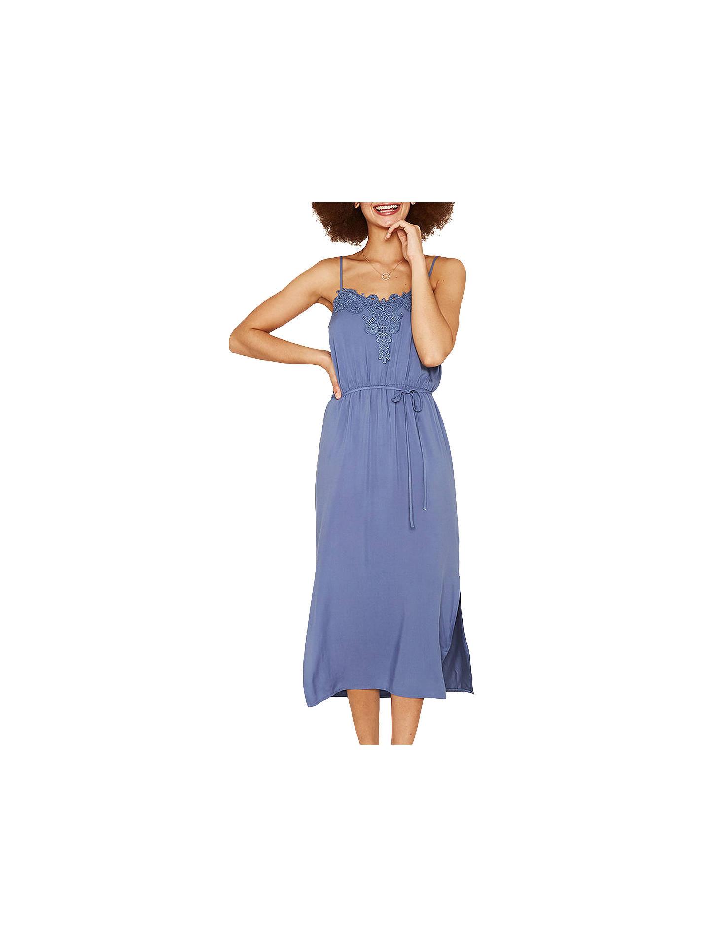 7babfd1dfe82 Buy Oasis Lace Trim Midi Dress, Mid Blue, 6 Online at johnlewis.com ...