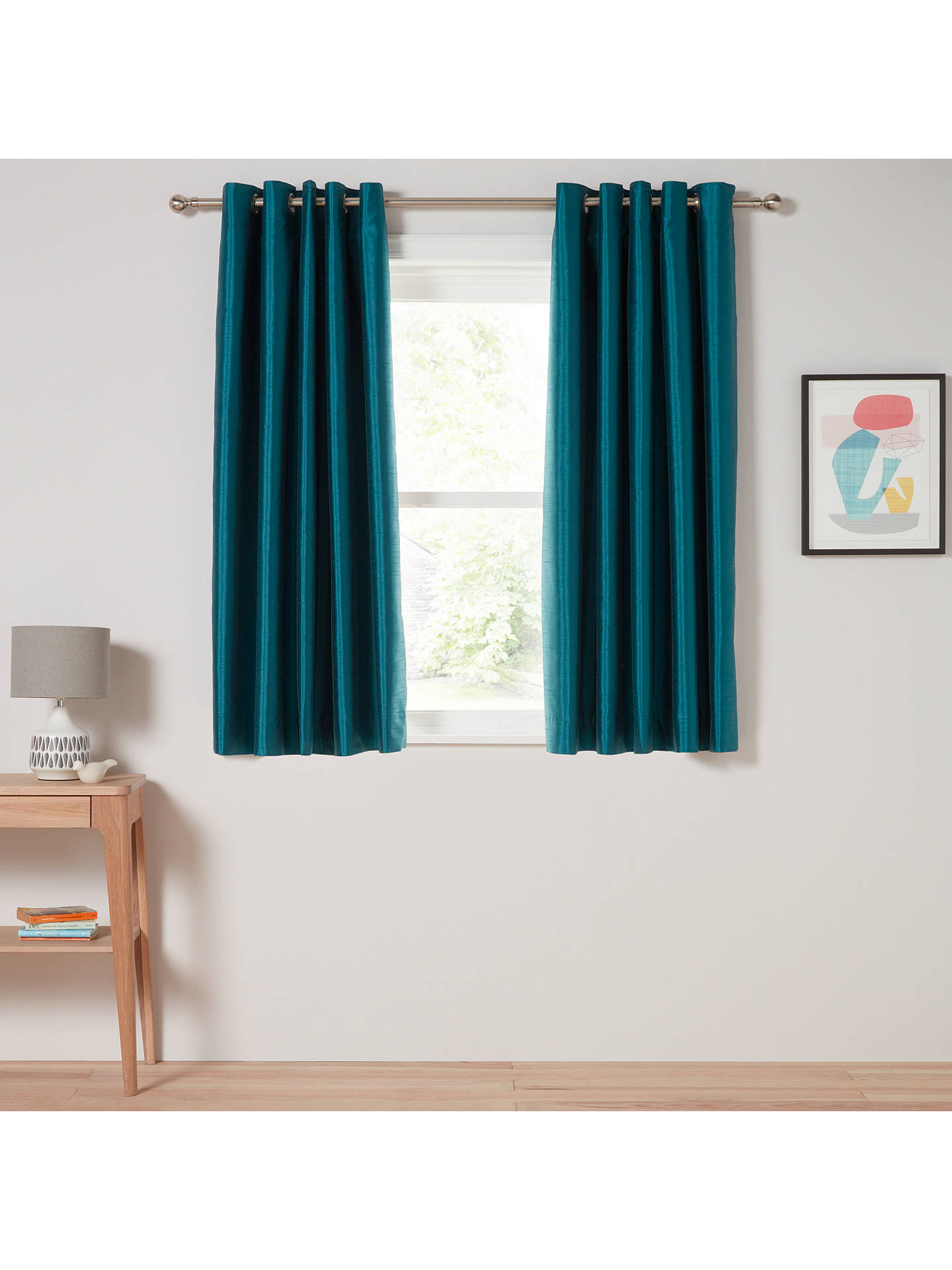 BuyJohn Lewis & Partners Faux Silk Pair Blackout Lined Eyelet Curtains, Teal, W167 x Drop 137cm Online at johnlewis.com