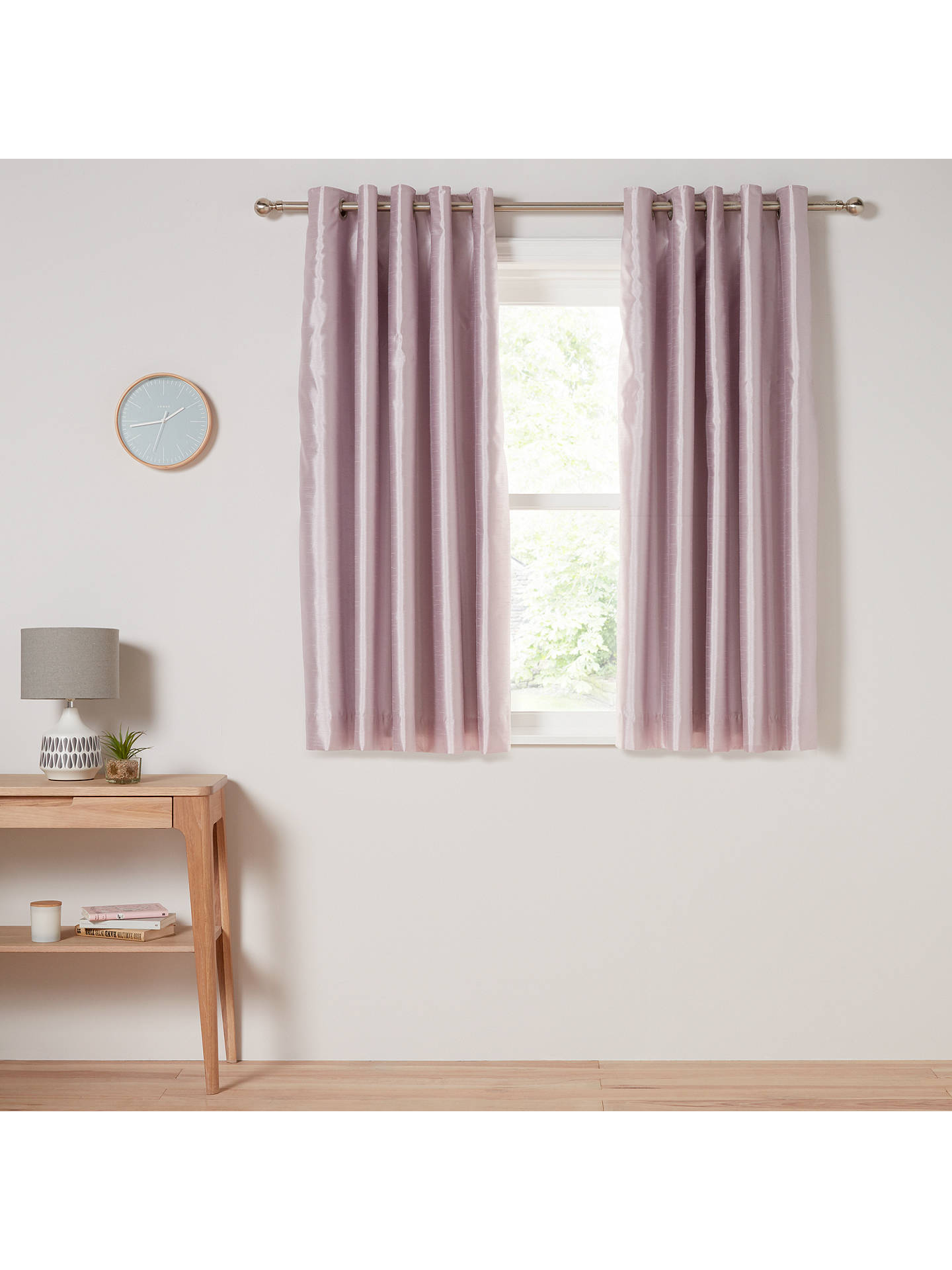 Buy John Lewis & Partners Faux Silk Pair Blackout Lined Eyelet Curtains, Wisteria, W228 x Drop 137cm Online at johnlewis.com