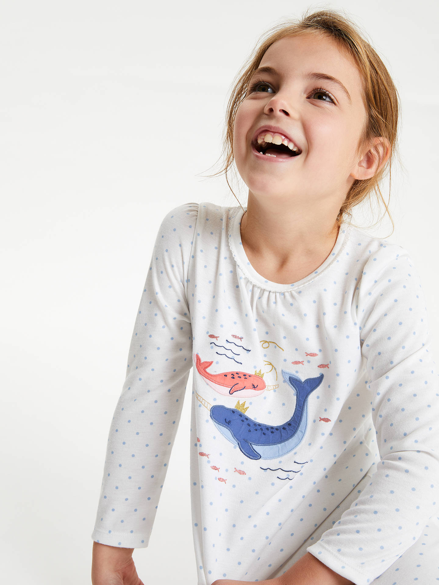 BuyJohn Lewis & Partners Girls' Narwhals Nightdress, Cream, 12 years Online at johnlewis.com