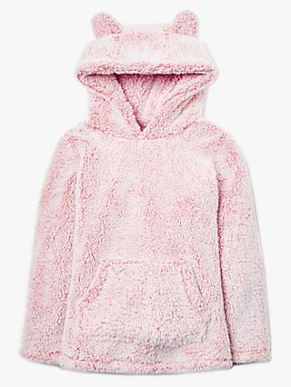 John Lewis & Partners Girls' Fluffy Hoodie, Pink