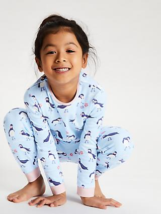 John Lewis & Partners Girls' Puffin Pyjamas, Pack of 2, Pink/Blue