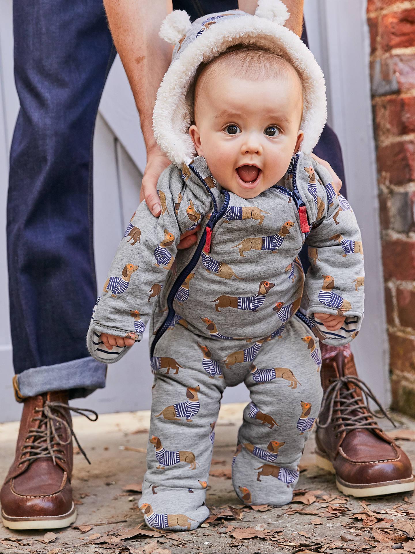 89ff12f82 ... Buy Mini Boden Baby Dachshund Print Snowsuit, Grey/Multi, 0-3 months ...