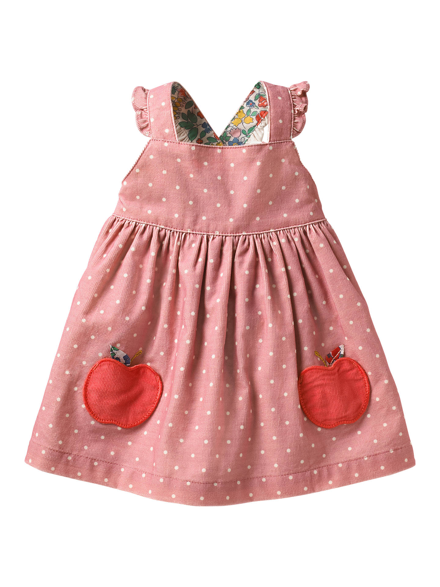 Mini Boden Baby Apple Applique Spot Dress Almond Blossom