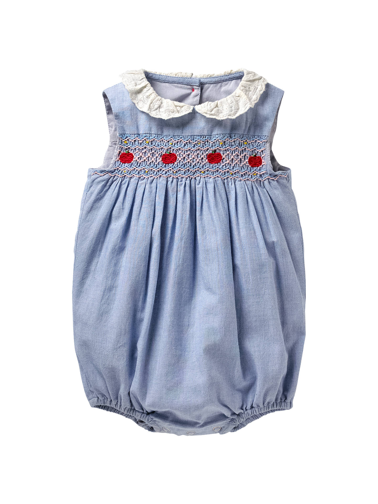 Mini Boden Baby Nostalgic Crochet Detail Romper Chambray Blue At