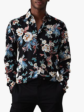 Reiss Vogal Floral Printed Shirt, Black