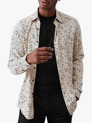 Buy Reiss Fosano Paint Splatter Printed Slim Fit Shirt, White/Black, S Online at johnlewis.com