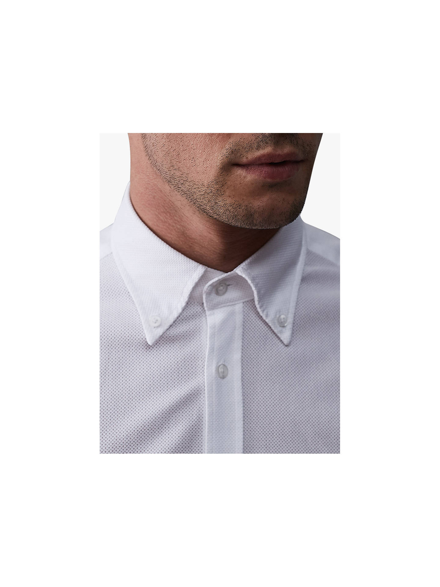 BuyReiss Halliday Textured Slim Fit Shirt, White, S Online at johnlewis.com