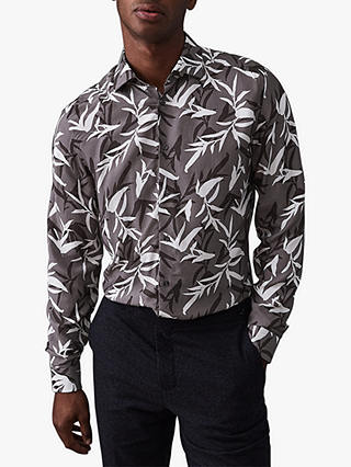 Buy Reiss Champ Floral Print Regular Fit Shirt, Grey, S Online at johnlewis.com
