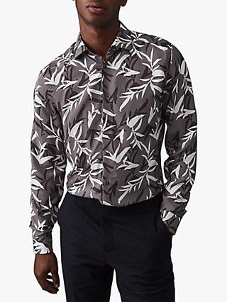 Reiss Champ Floral Print Regular Fit Shirt, Grey