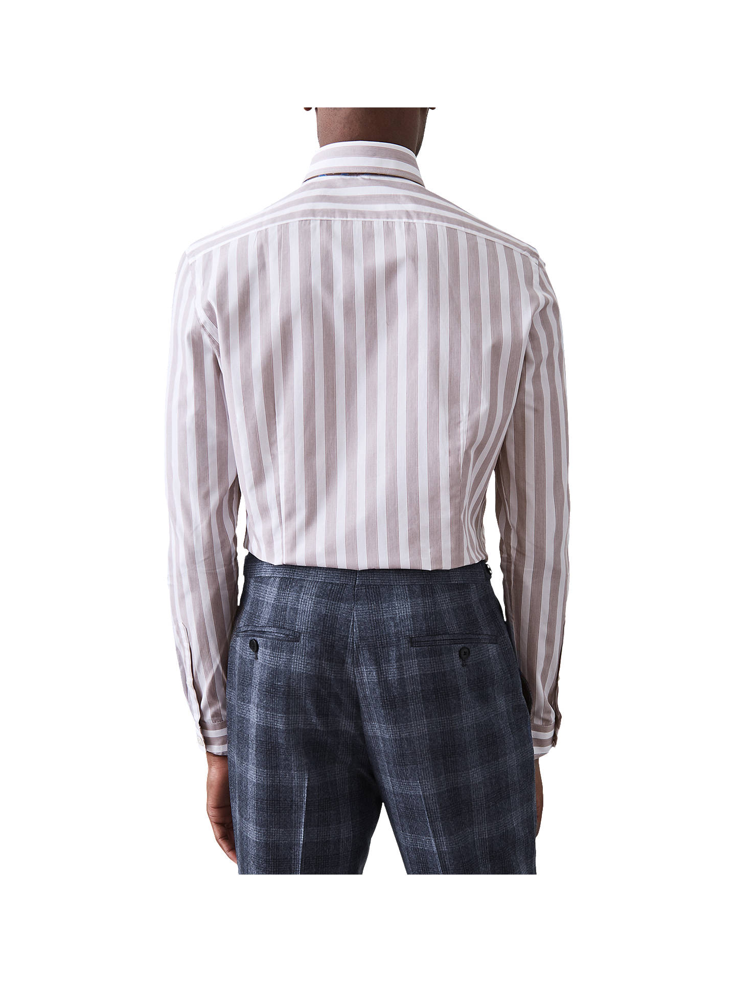 BuyReiss Kelso Block Stripe Slim Fit Shirt, Brown, S Online at johnlewis.com