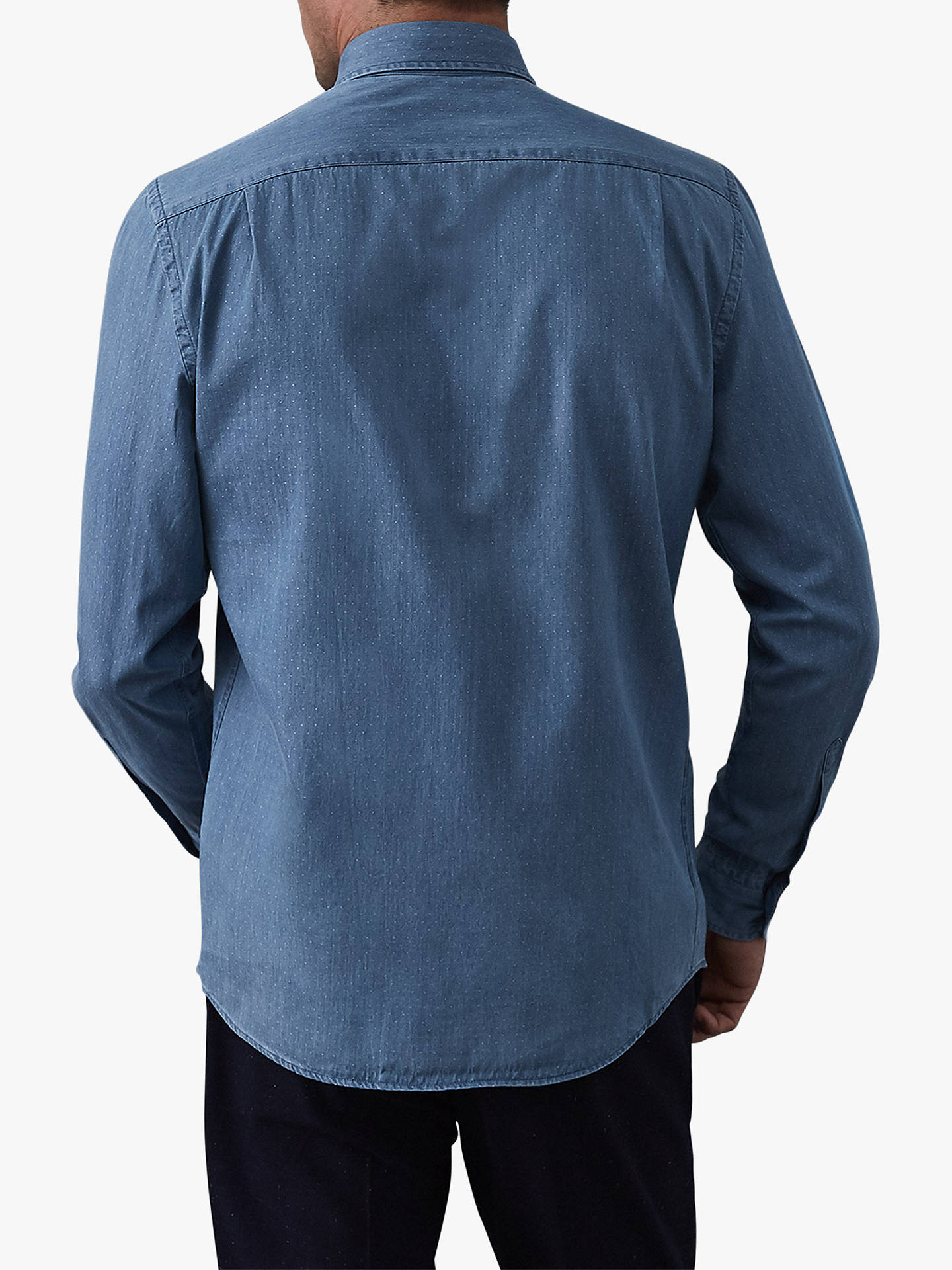 BuyReiss Thatcher Pin Dot Chambray Shirt, Blue, S Online at johnlewis.com