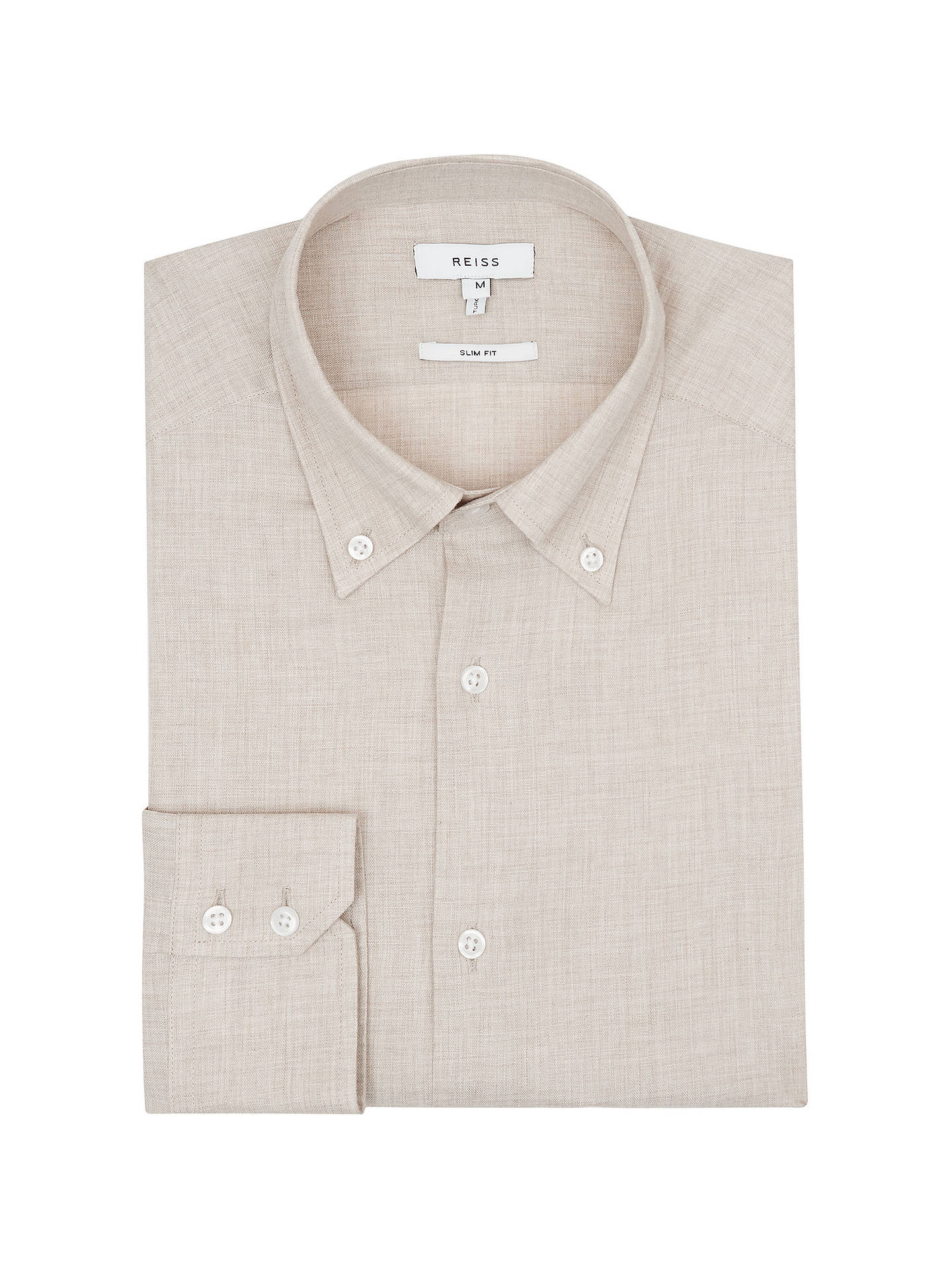 Buy Reiss Rapter Slim Fit Cotton Shirt, Camel, S Online at johnlewis.com