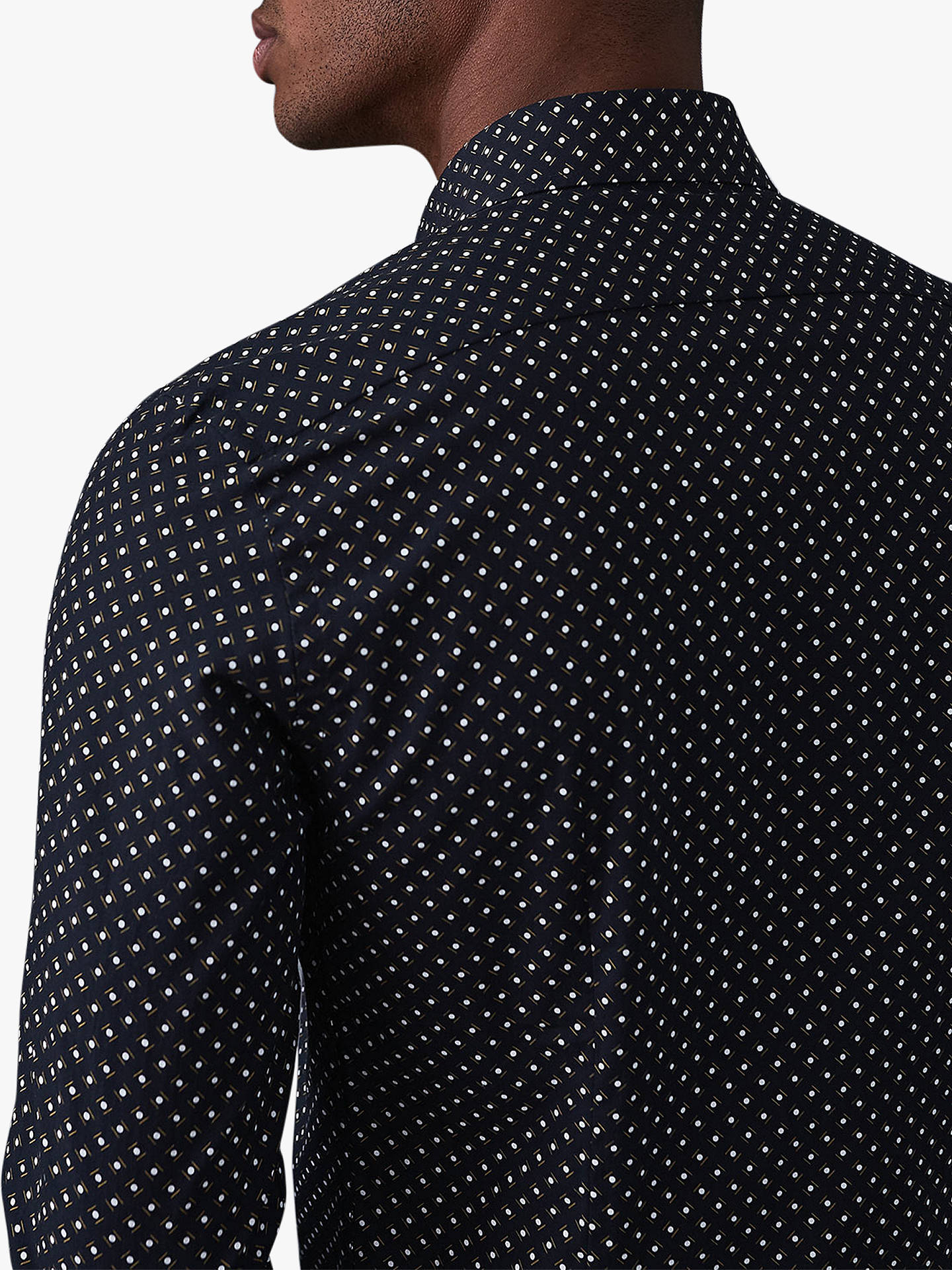 BuyReiss Kesler Geometric Slim Fit Print Shirt, Blue, S Online at johnlewis.com