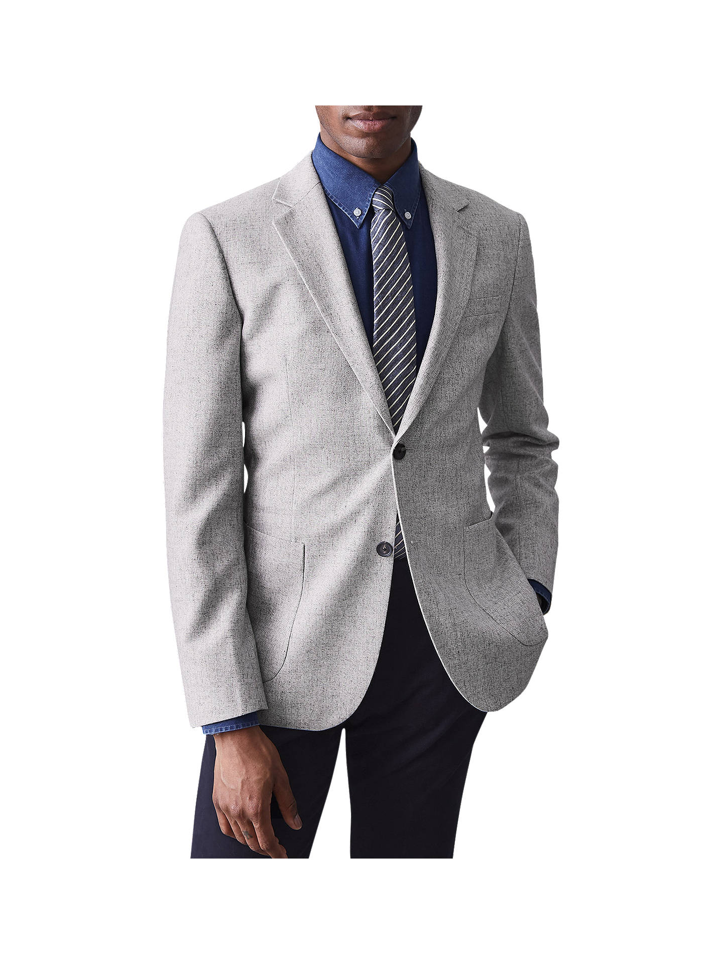 Buy Reiss Lord Wool Linen Slim Fit Blazer, Stone, 36R Online at johnlewis.com