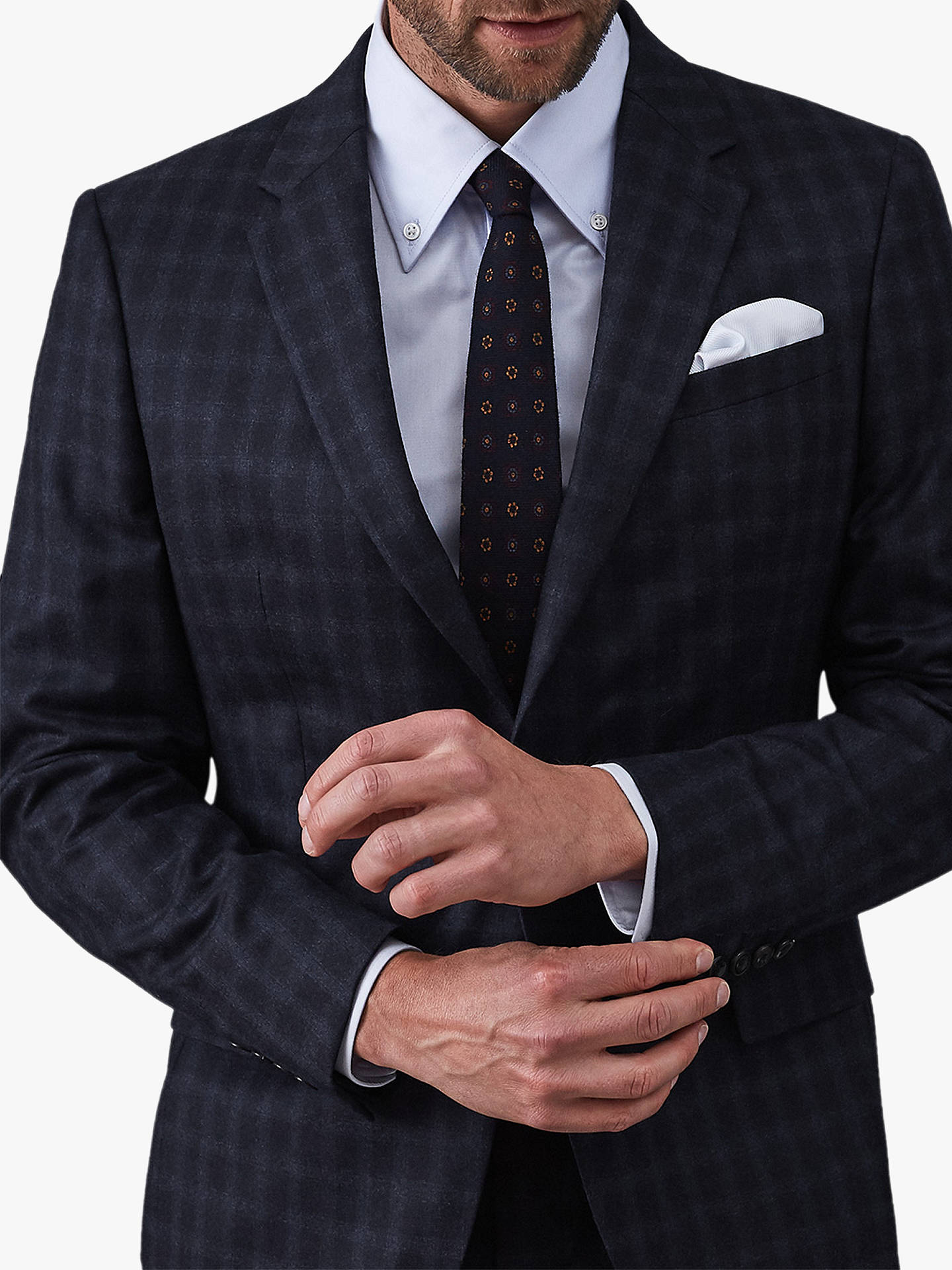 Buy Reiss Walter Wool Check Modern Fit Suit Jacket, Navy, 36R Online at johnlewis.com