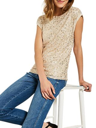 Mint Velvet Sequined T-Shirt, Neutral