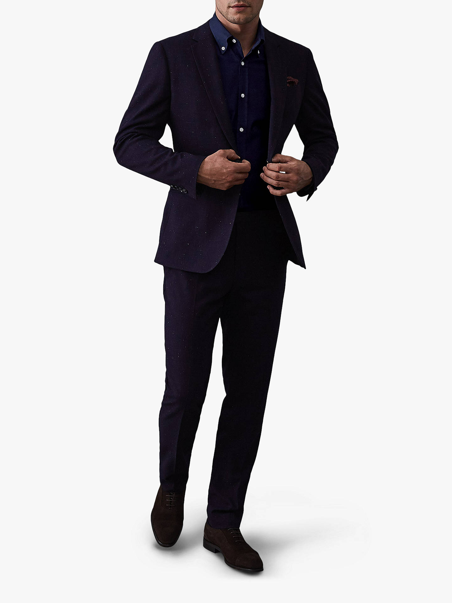 Buy Reiss Halliday Textured Slim Fit Shirt, Navy, S Online at johnlewis.com
