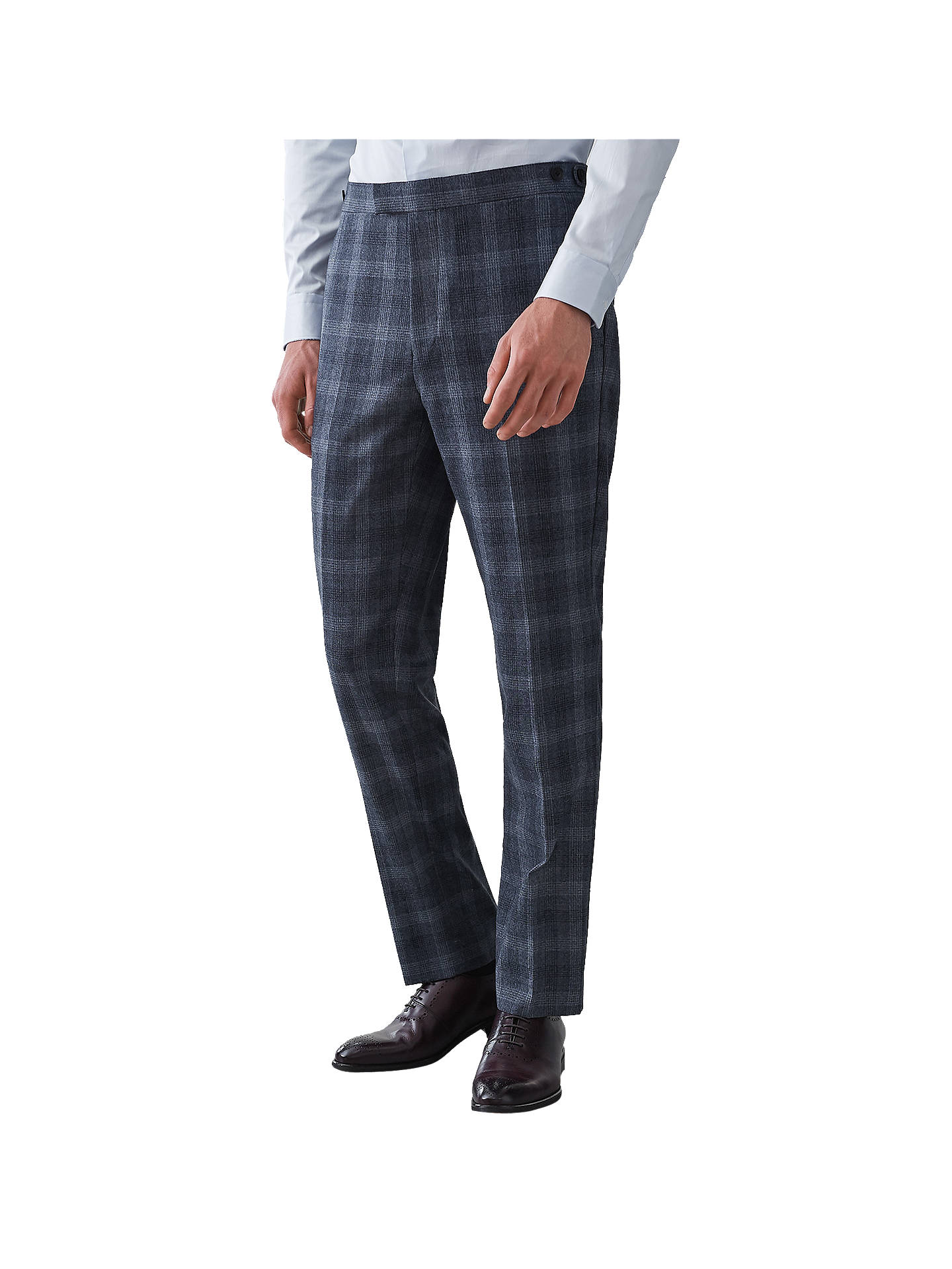 Buy Reiss Bondi Wool Check Slim Fit Suit Trousers, Airforce Blue, 30R Online at johnlewis.com