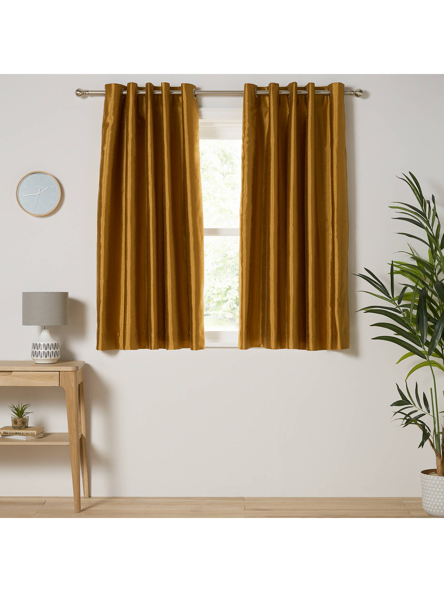 Buy John Lewis & Partners Faux Silk Pair Blackout Lined Eyelet Curtains, Tiger's Eye, W167 x Drop 137cm Online at johnlewis.com