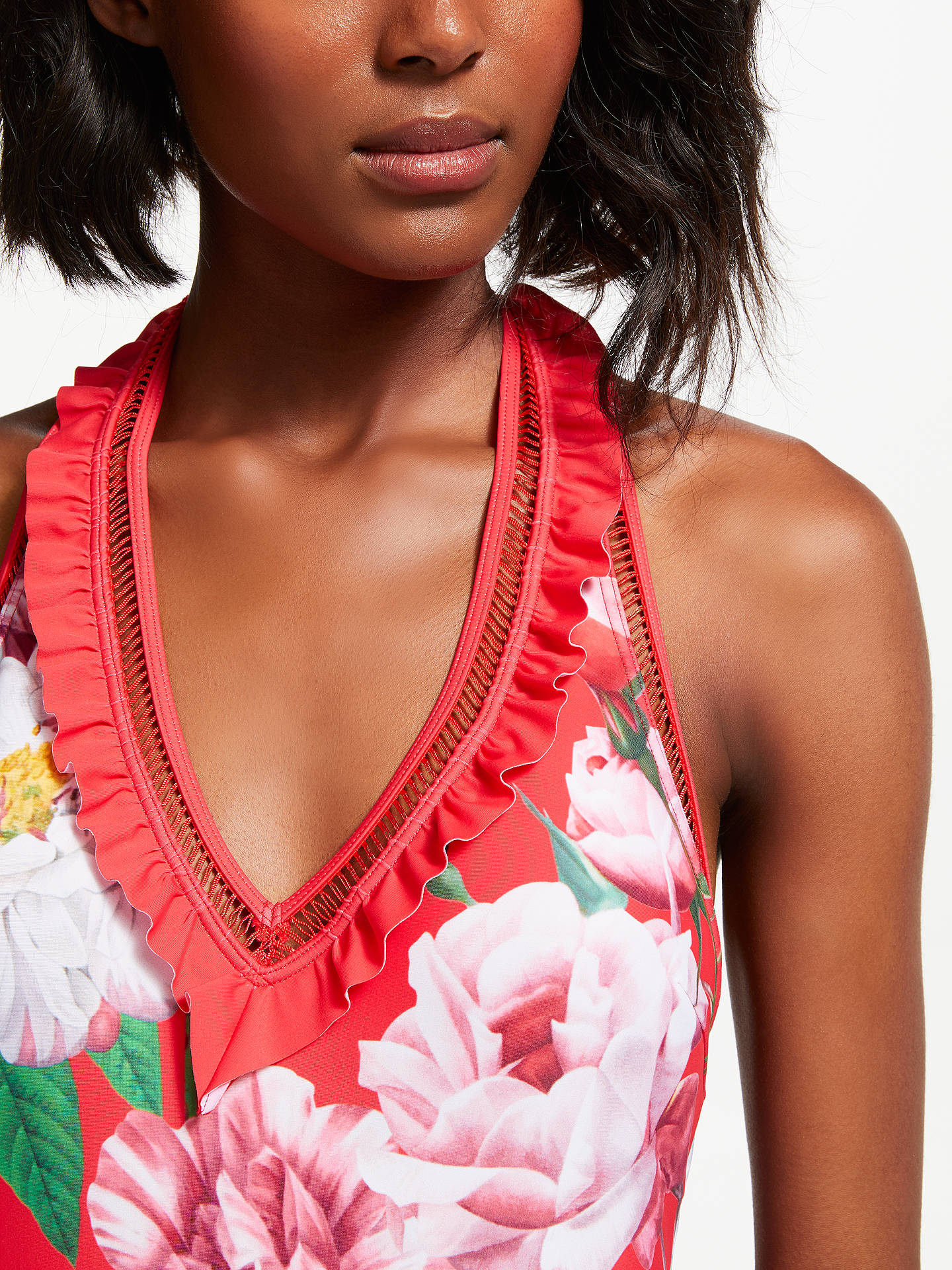 BuyTed Baker Ceskala Iguazu Print Plunge Swimsuit, Red, 8 Online at johnlewis.com