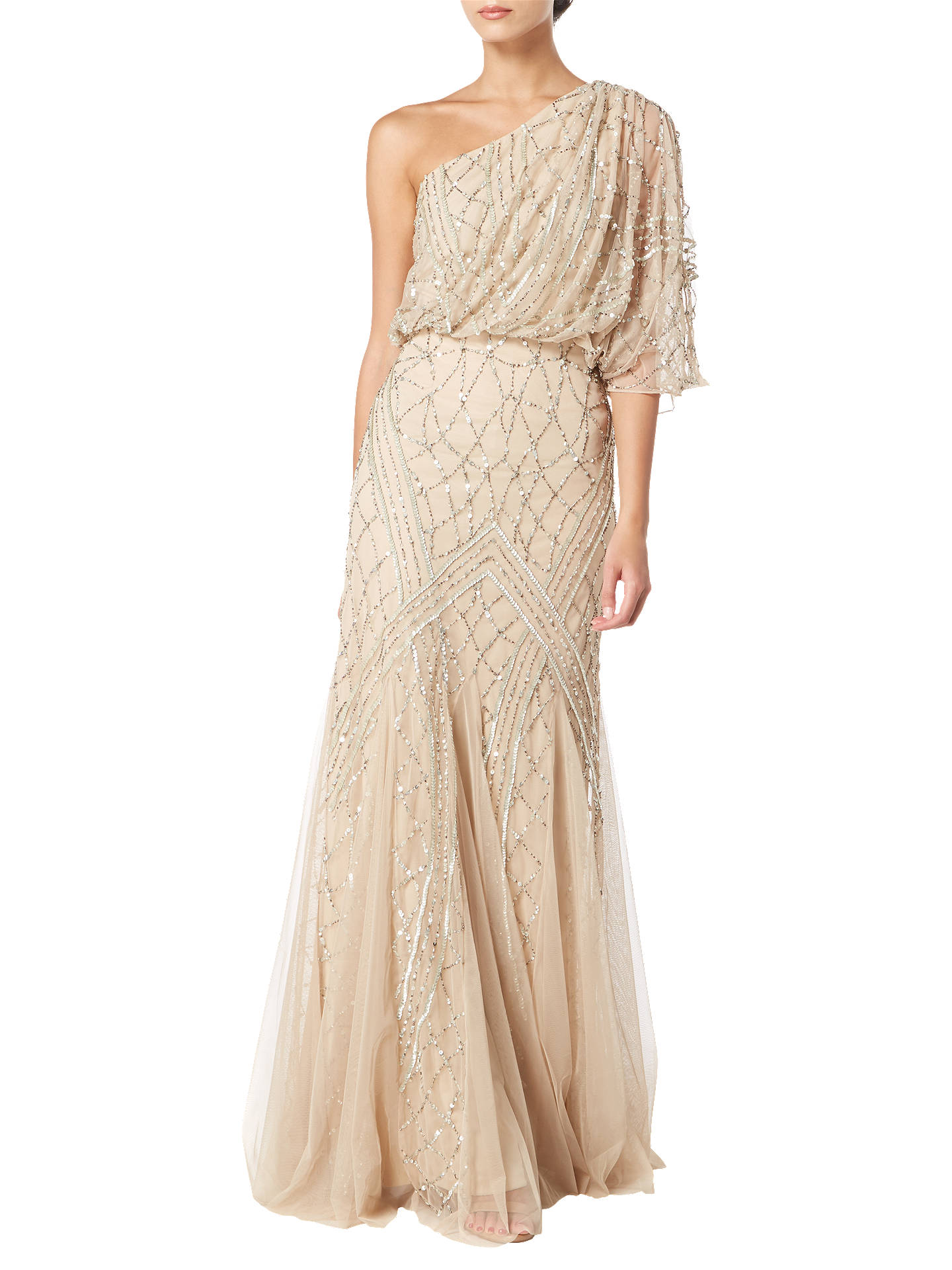 BuyRaishma One Shoulder Draped Dress, Champagne, 8 Online at johnlewis.com