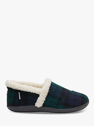 TOMS Children's Spruce Plaid Check Slippers, Navy