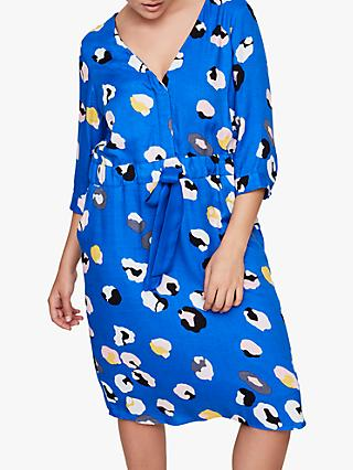 I.Scenery Lien Print Dress, BlueMulti