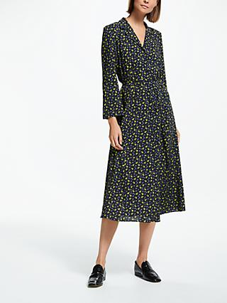 Finery Daniella Tie Waist Print Shirt Dress, Navy Ditsy