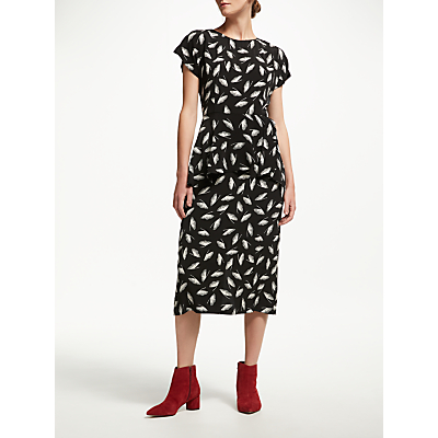 Finery Eva Peplum Dress, Black/Ivory