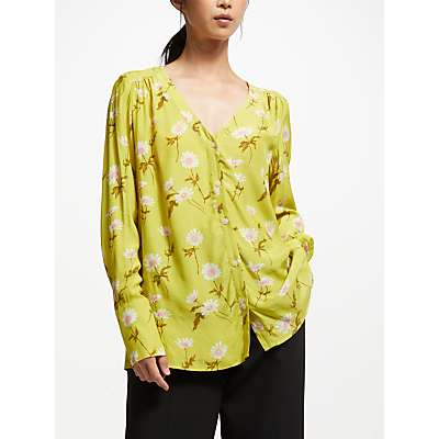 Finery Hinoki Floral Print Blouse, Lime