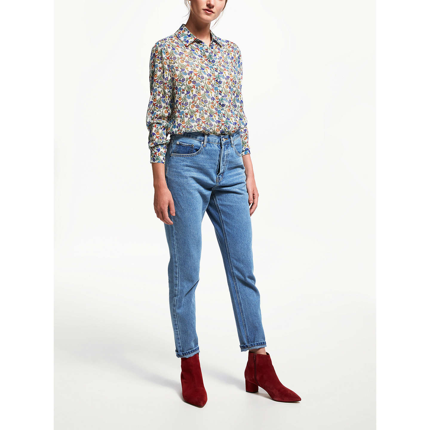 BuyFinery Senna Print Georgette Blouse, Multi, 8 Online at johnlewis.com
